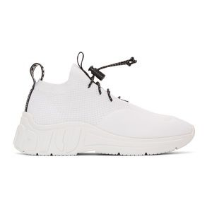 White Technical Knit Sneakers